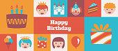 istock Gridded Kids Happy Birthday banner - v1 1298329585