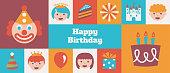 istock Gridded Kids Happy Birthday banner - v2 1298329640