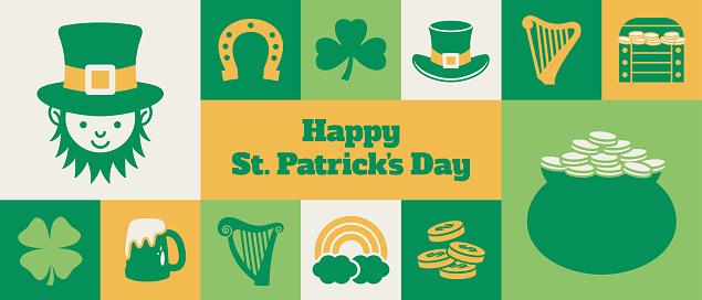 Gridded St. Patrick's Day banner design - v1