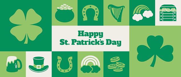Gridded St. Patrick's Day banner design - v2