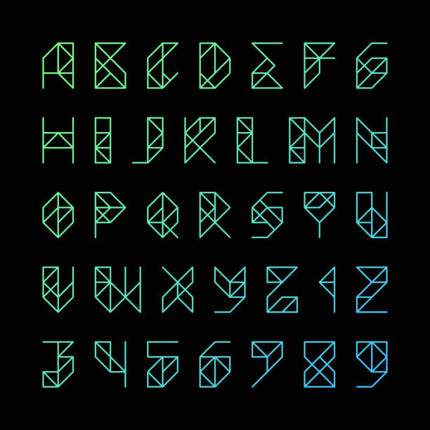 Gridline alphabet letters and numbers vector art illustration