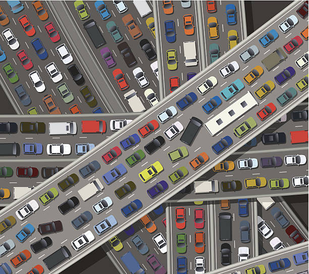 gridlock - traffic stock illustrations