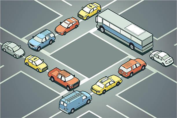 Gridlock vector art illustration