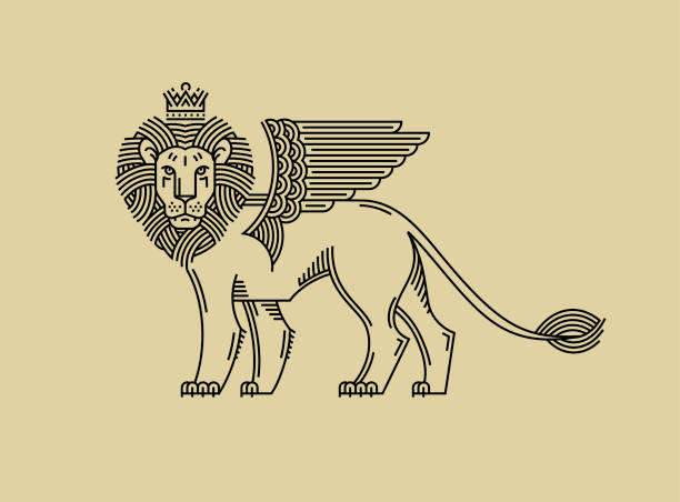 griffin, a lion in the crown with wings in the style of engraving of linear design for a premium sing or coat of arms. lion with a crown symbol of power, strength, security. - mythology stock illustrations