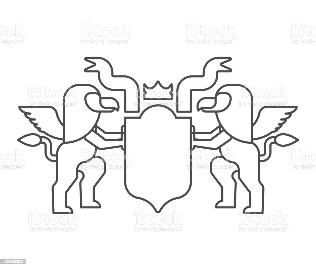 Griffin and Shield heraldic symbol. Sign Animal for coat of arms. Vector illustration - Royalty-free Abstract stock vector