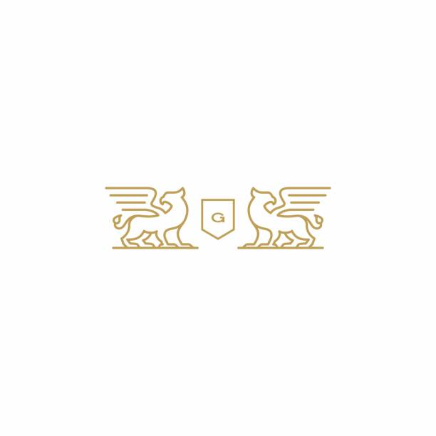 그리핀 코트 의 팔 벡터 아이콘 그림 - 그리핀 stock illustrations
