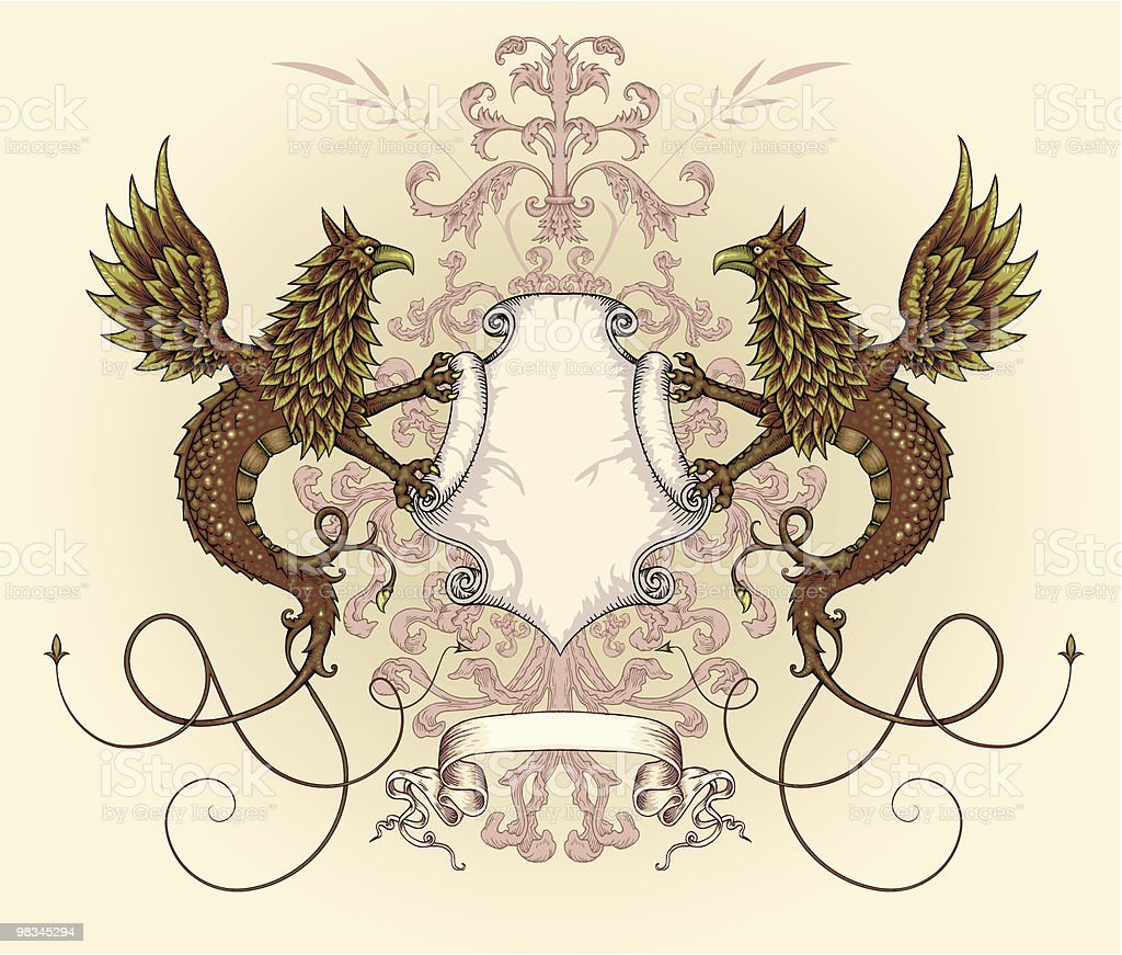 Griffin dragon shield royalty-free griffin dragon shield stock vector art & more images of animal body part