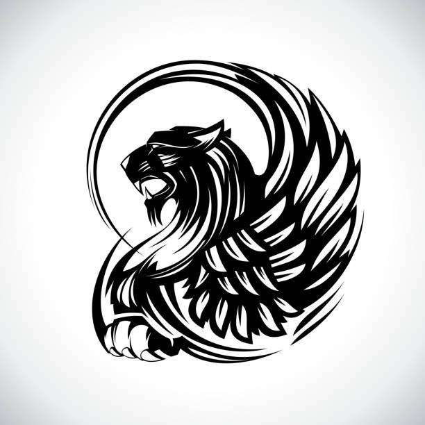 문장 학 또는 문신, 그리핀 벡터 디자인 - 그리핀 stock illustrations