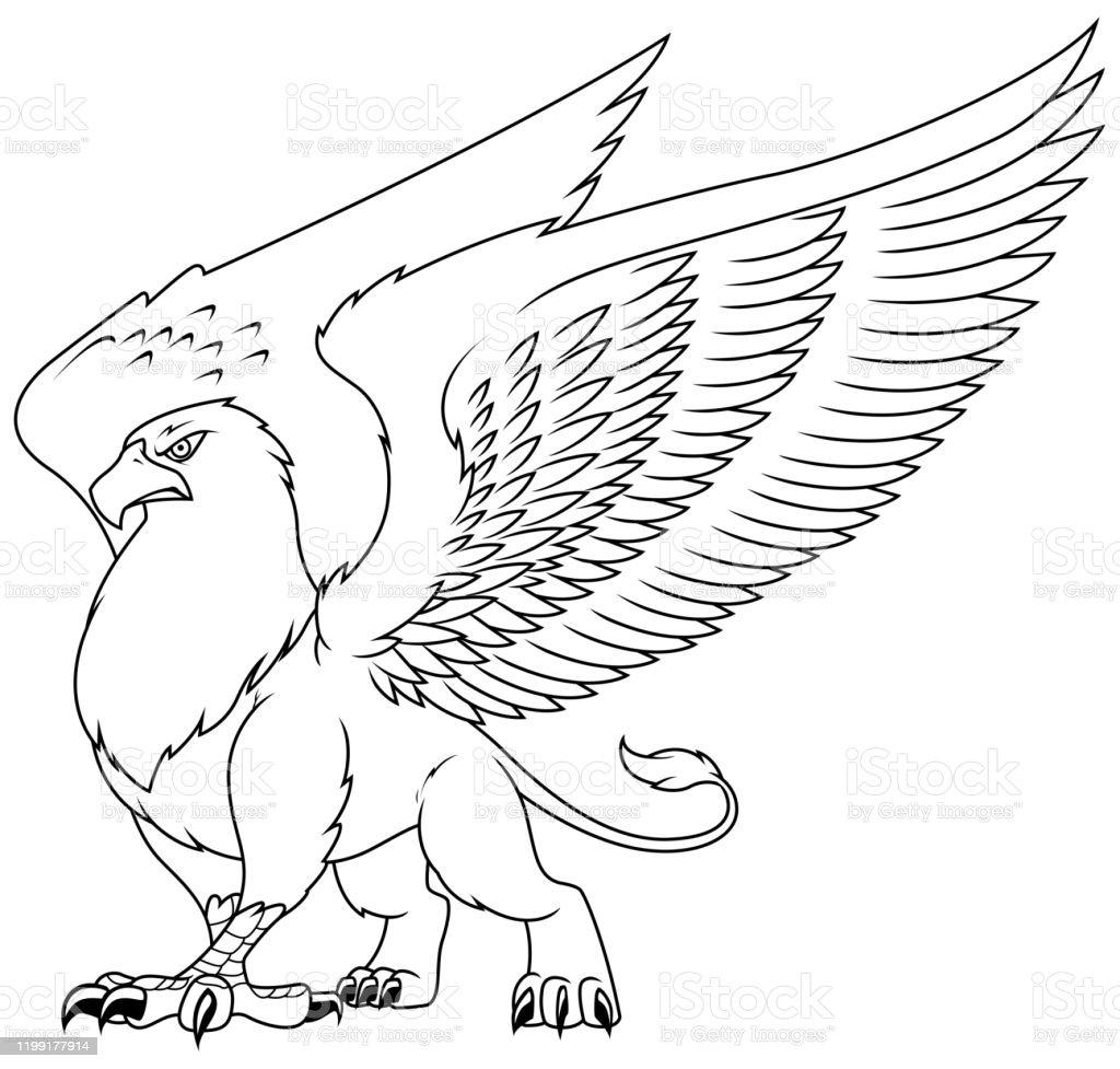 Griffin Line Art Stock Vektor Art Und Mehr Bilder Von Adler Istock