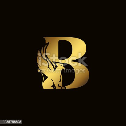 Griffin silhouette inside gold letter B. Heraldic symbol beast ancient mythology or fantasy. Creative design elements for logotype, emblem, monogram, icon or symbol for company, corporate, brand name