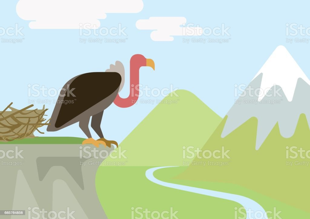 Griffin vulture predator on rock nest mountains flat design cartoon vector wild animals birds. Flat zoo nature children collection. griffin vulture predator on rock nest mountains flat design cartoon vector wild animals birds flat zoo nature children collection - immagini vettoriali stock e altre immagini di animale royalty-free