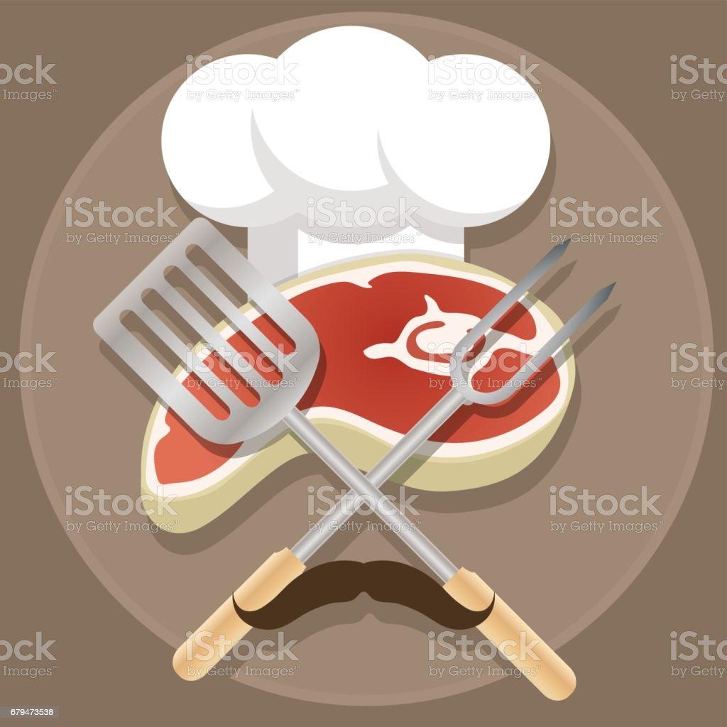 燒烤爐和燒烤卡通插圖 免版稅 燒烤爐和燒烤卡通插圖 向量插圖及更多 steakhouse 圖片