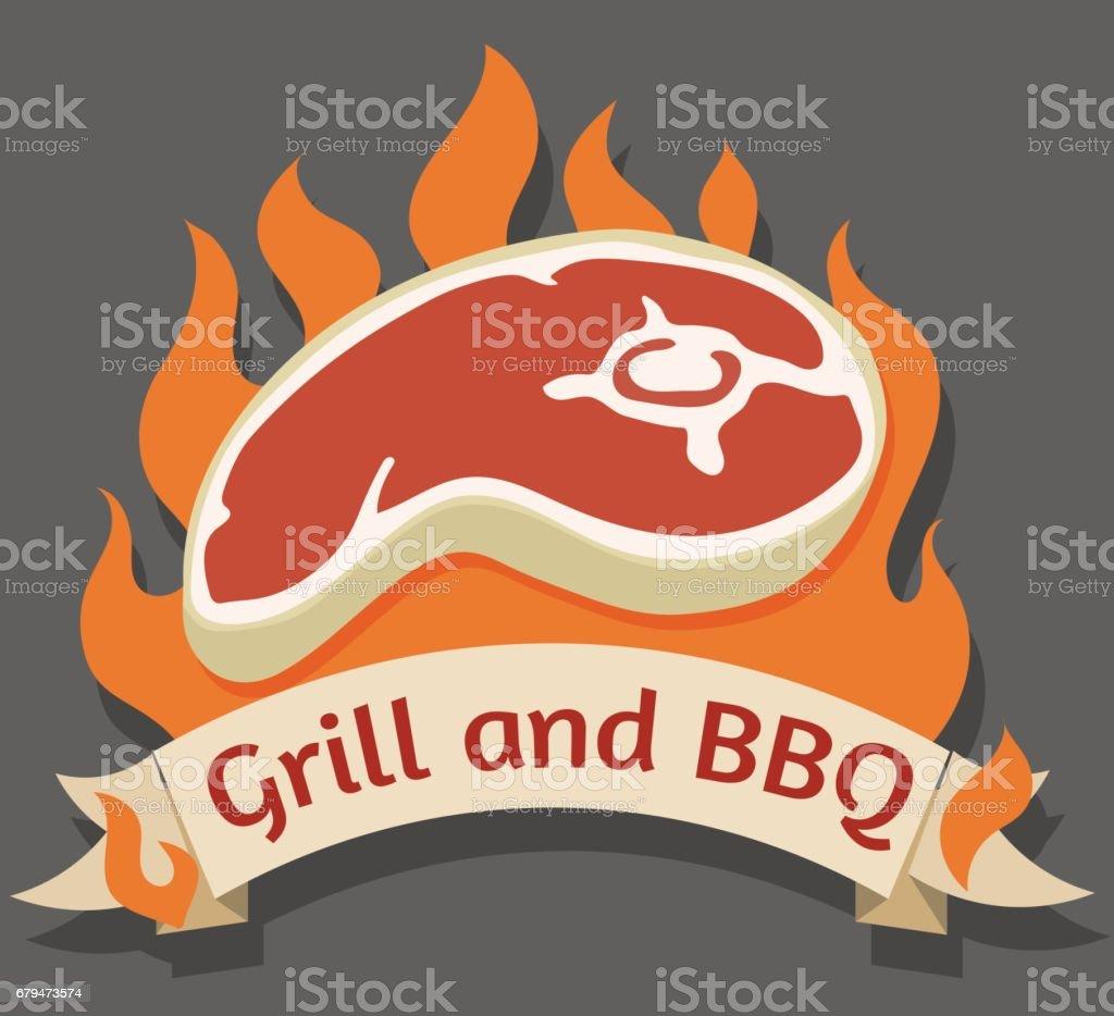 燒烤爐和燒烤的卡通標識 免版稅 燒烤爐和燒烤的卡通標識 向量插圖及更多 steakhouse 圖片