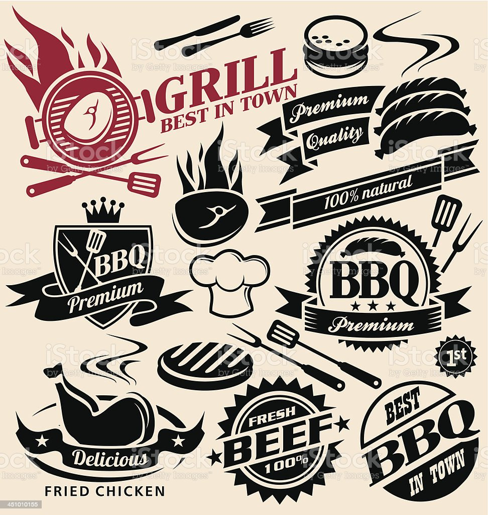 Grill and barbecue collection of vector signs, labels, icons, symbols vector art illustration