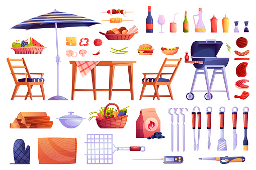 Grill and barbecue icons set, food and grilling equipment isolated. Vector bbq meat, skewers forks, table and chair, basket with fruits and vegetables, cartoon picnic element. Hamburger, wine drink