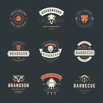 Grill and barbecue icons set vector illustration steak house or restaurant menu badges with bbq food silhouettes