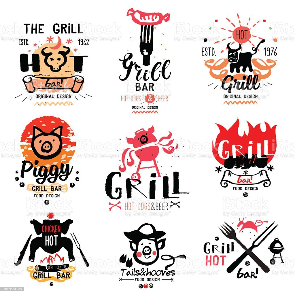 Grill and barbecue illustrations. vector art illustration