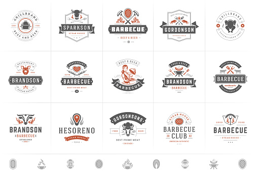 Grill and barbecue logos set vector illustration steak house or restaurant menu badges with bbq food silhouettes