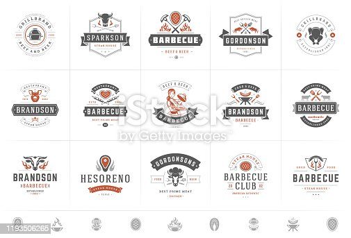 Grill and barbecue logos set vector illustration steak house or restaurant menu badges with bbq food silhouettes. Modern vintage typography labels and emblems design.