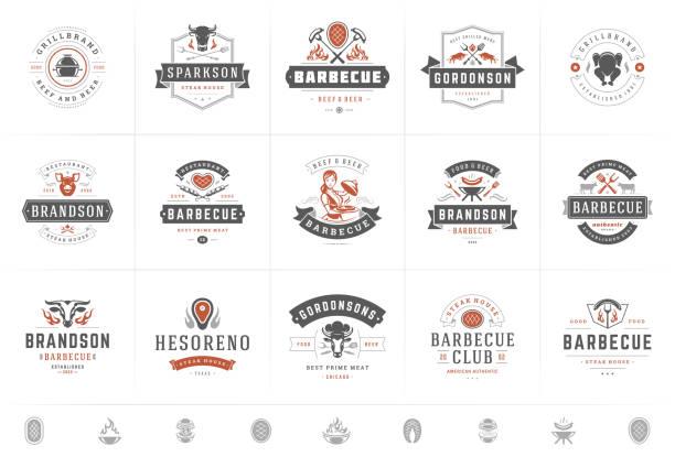 logo grilla i grilla ustawić wektor ilustracji steak house lub restauracja menu odznaki z bbq żywności sylwetki - przypinka stock illustrations