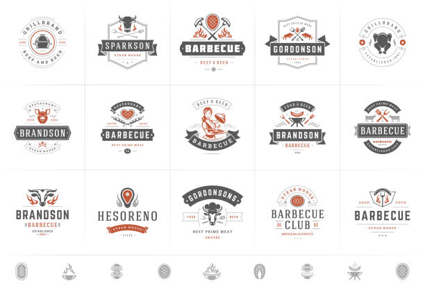 Grill and barbecue logos set vector illustration steak house or restaurant menu badges with bbq food silhouettes Grill and barbecue logos set vector illustration steak house or restaurant menu badges with bbq food silhouettes. Modern vintage typography labels and emblems design. logo stock illustrations