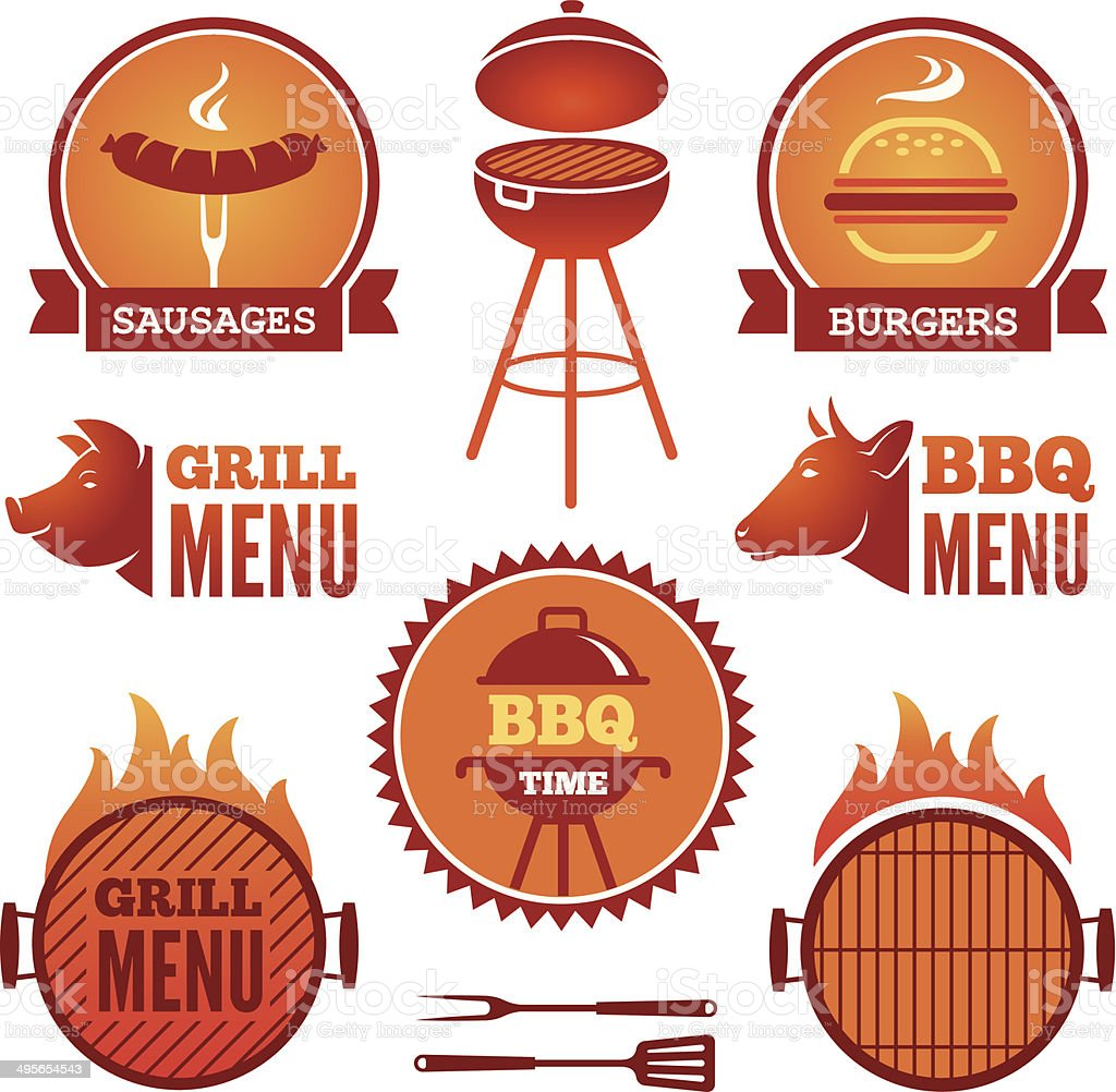 Grill and BBQ2 vector art illustration