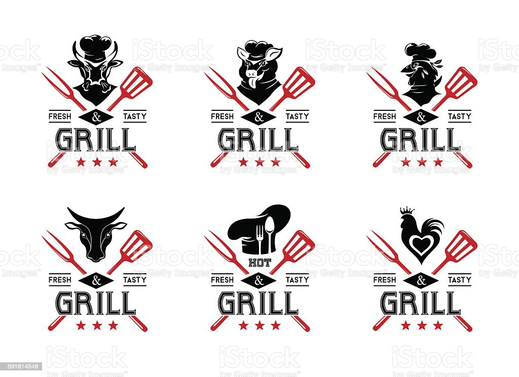 Grill and steak menu labels collection vector art illustration
