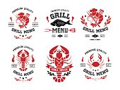 Grill and steak menu labels collection