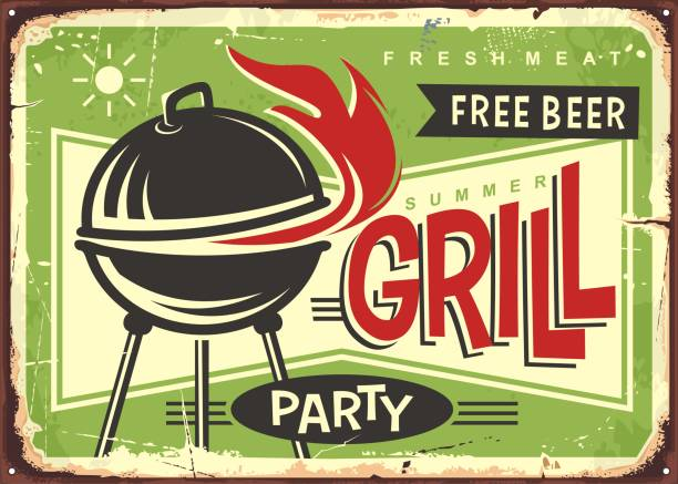 Grill appliance with red fire flames retro sign design vector art illustration