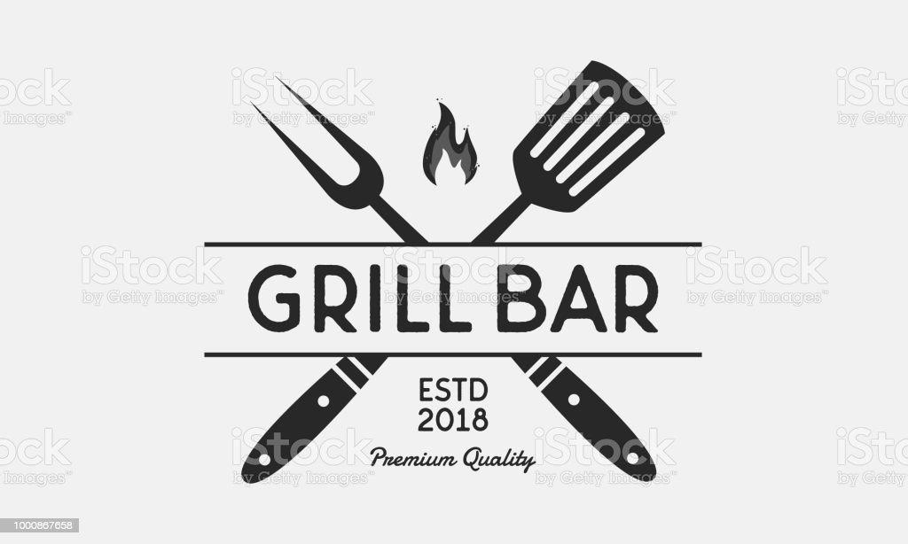 Grill Bar Restaurant Logo Grill Fork And Spatula Vintage Bbq