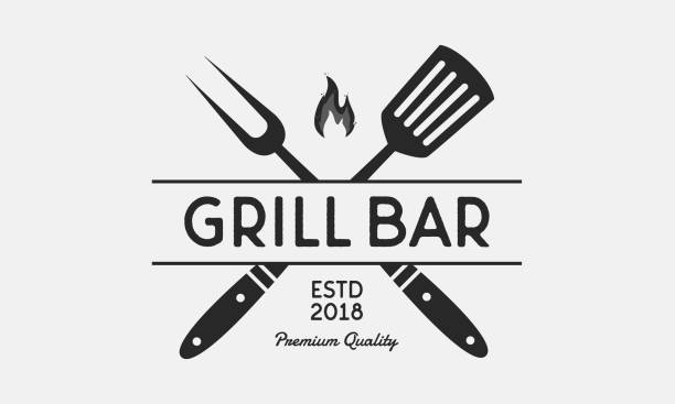 Grill Bar restaurant logo. Grill fork and Spatula. Vintage BBQ emblem. Template. Vector illustration vector art illustration