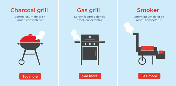 BBQ, grill, barbecue equipment set. Different colorful isolated flat vector illustration.