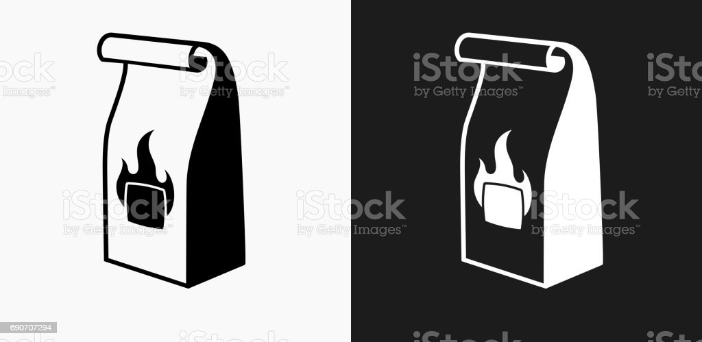 Grill Charcoal Bag Icon on Black and White Vector Backgrounds vector art illustration
