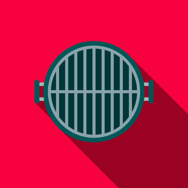 Grill Flat Design BBQ Icon with Side Shadow A flat design styled barbecue icon with a long side shadow. Color swatches are global so it's easy to edit and change the colors. canada day illustrations stock illustrations