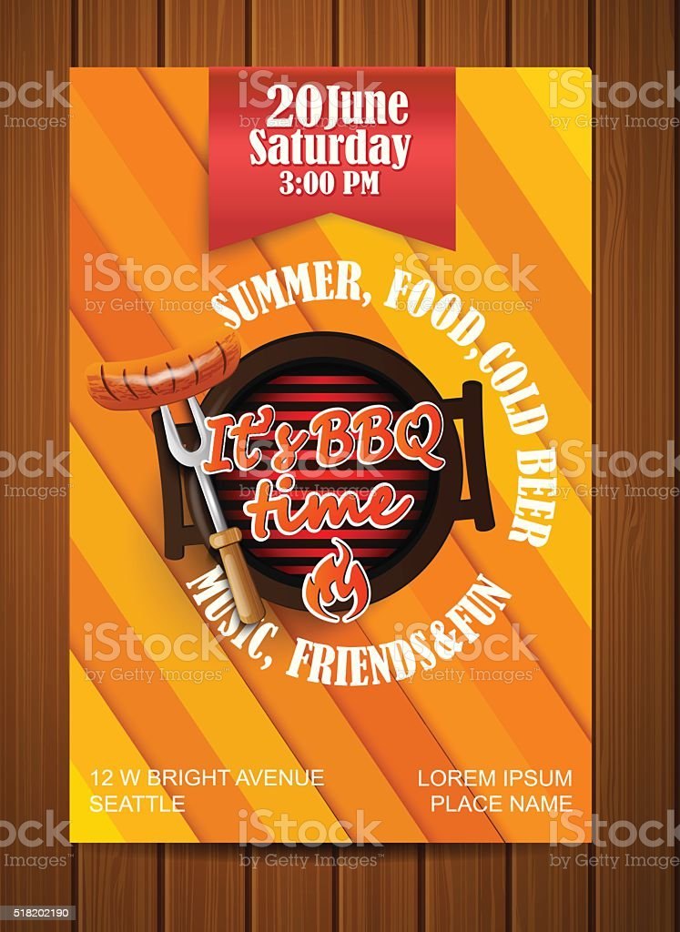 BBQ Grill flyer. vector art illustration