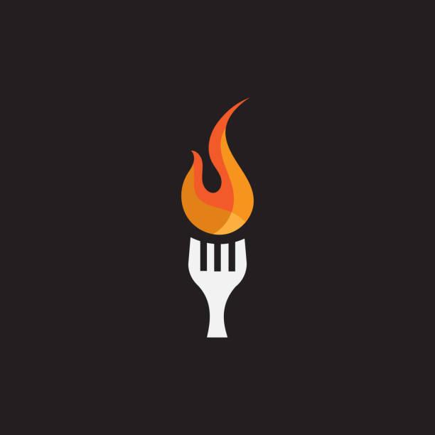 illustrazioni stock, clip art, cartoni animati e icone di tendenza di grill fork flame - forchetta