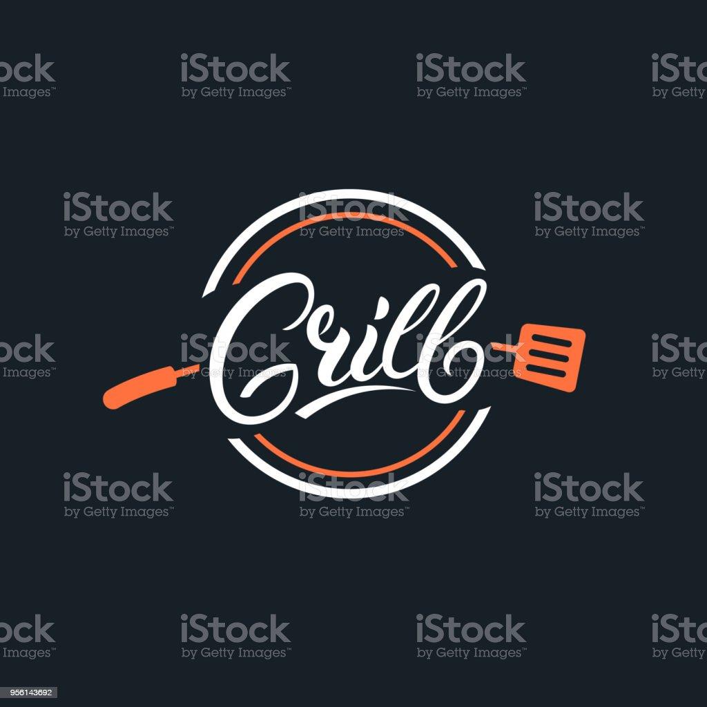 Grelhar a mão escrita letras logotipo - ilustração de arte em vetor