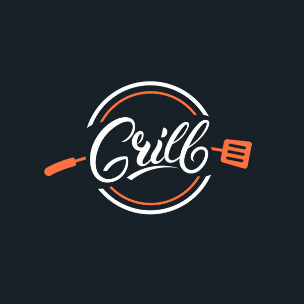 grill hand written lettering logo - restaurant logos stock illustrations, clip art, cartoons, & icons
