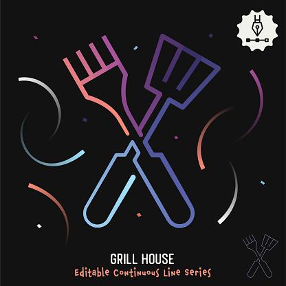 Grill House Editable Line Illustration