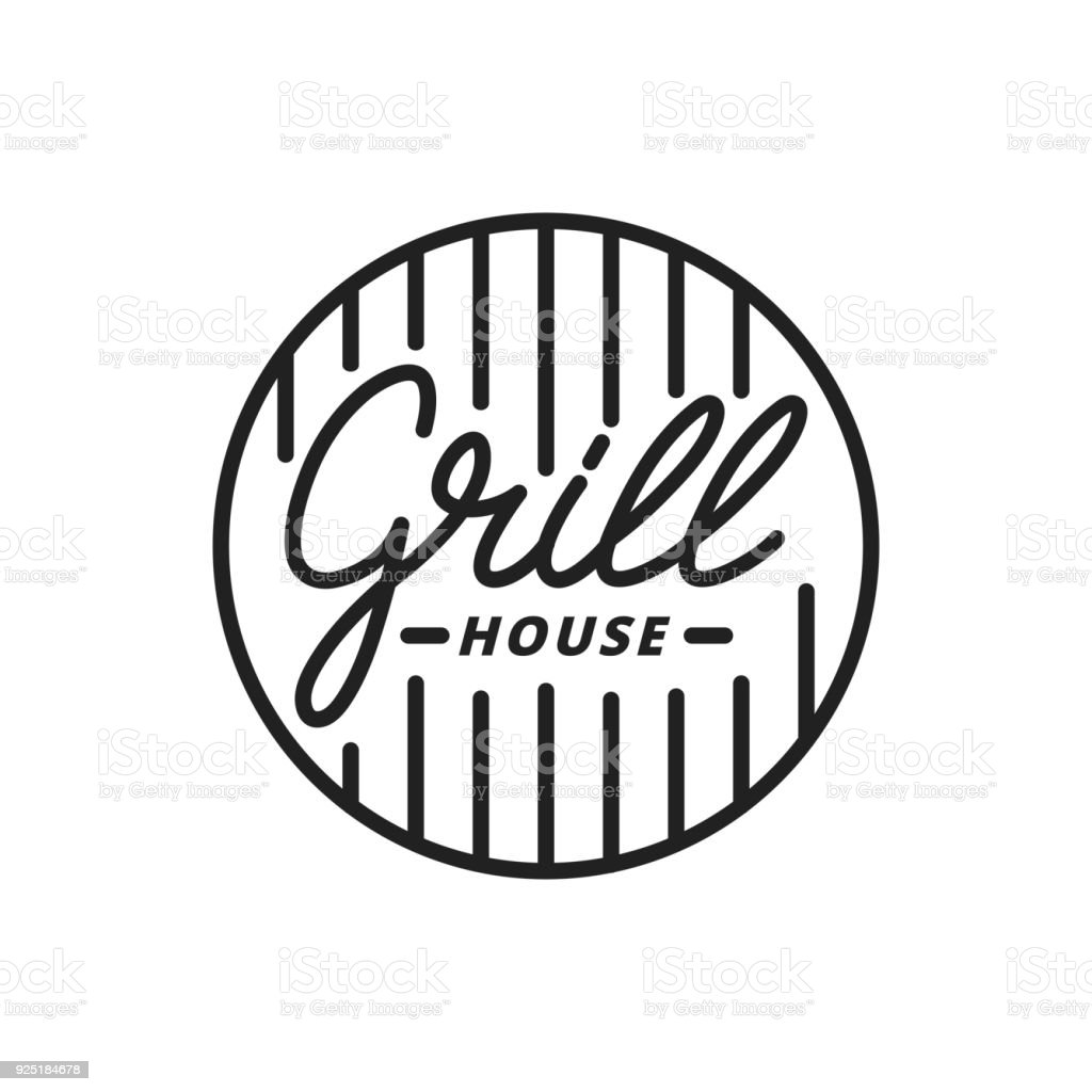 Grillhaus. Grill-Beschriftung Abbildung. Grill Label Abzeichen emblem – Vektorgrafik