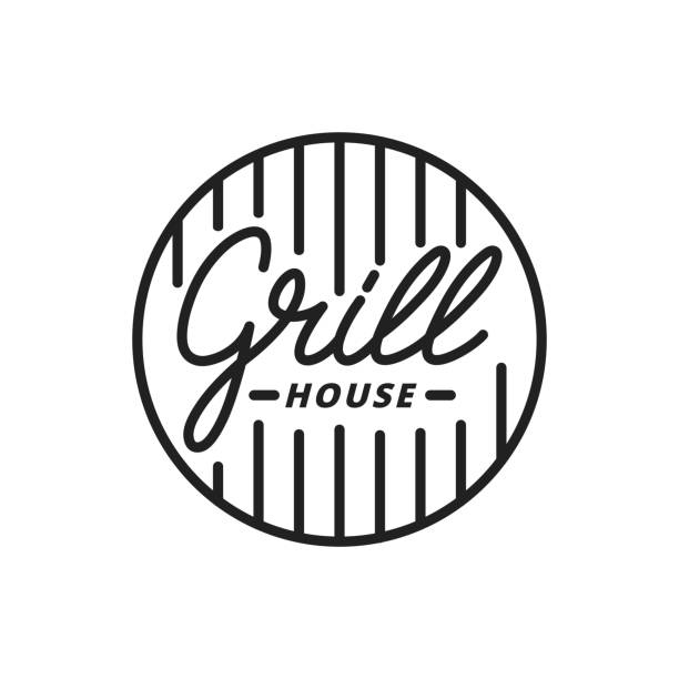 grill house. grill lettering illustration. grill label badge emblem - grill stock illustrations