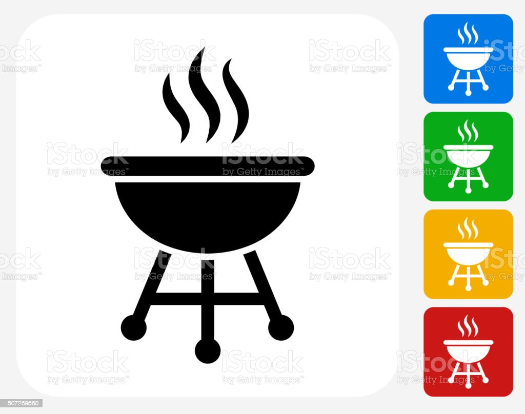 Grill Icon Flat Graphic Design vector art illustration