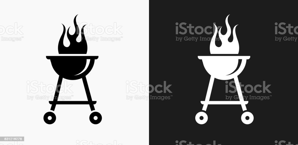 Grill Icon on Black and White Vector Backgrounds vector art illustration