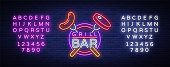 Grill  in a neon style. Vector illustration on the theme of food, meat of the same. Neon sign, bright symbol, Grill bar, restaurant, snack bar, dining room. BBQ party. Editing text neon sign.