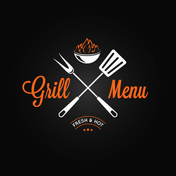 grill logo vintage emblem. grill fire and tools on black background - grilling stock illustrations