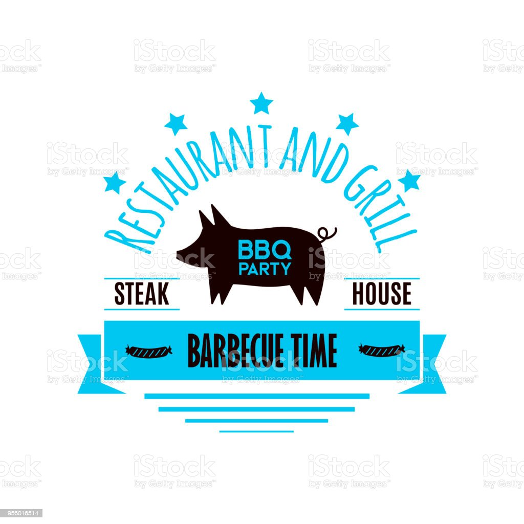 Bbq Grill Meat Barbecue Restaurant Party At Home Dinner Vector ...