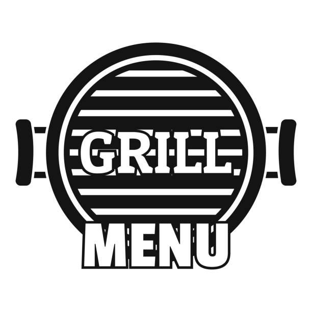 grill-menü-logo, einfachen stil - edelrost stock-grafiken, -clipart, -cartoons und -symbole