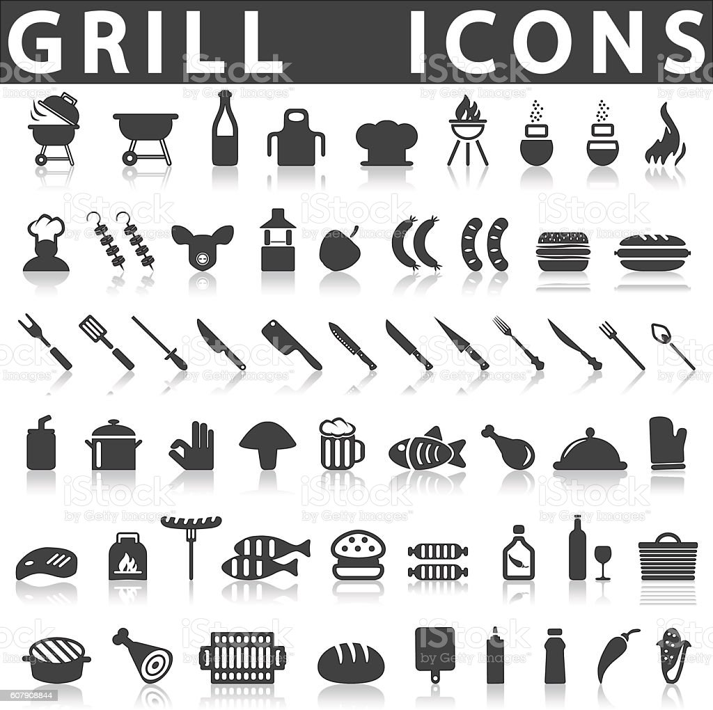 Grill Or Barbecue Icons vector art illustration