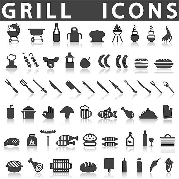 Icone Barbecue Grill o - illustrazione arte vettoriale