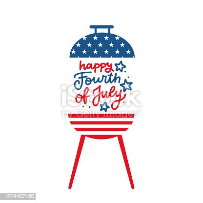 istock BBQ grill party invitation card template. Flat design icon Star and strip pattern Happy independence day United states of America. 4th of July. Flat design Vector illustration with lettering 1224407150